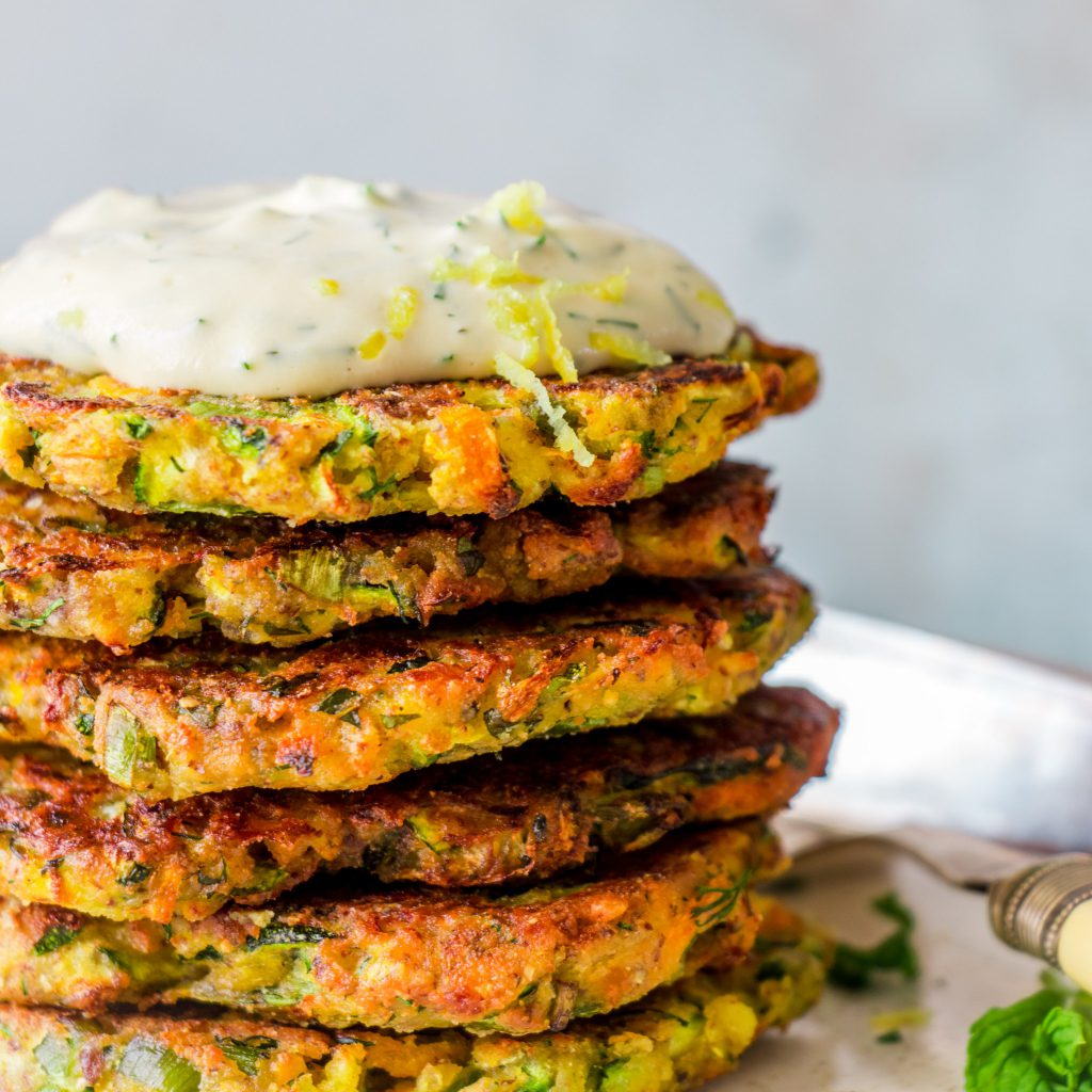 Zucchini Fritters with Dill Sour Cream