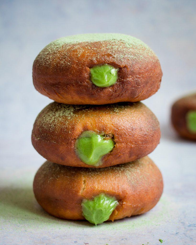 Doughnuts Matcha Filled Doughnuts/Sufganiyot Matcha Buttercream